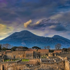Mount Vesuvius over Pompei, Italy