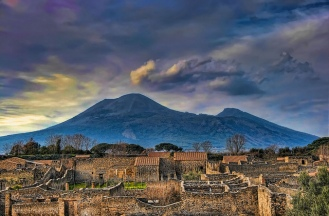 Mount Vesuvius over Pompei, Italy